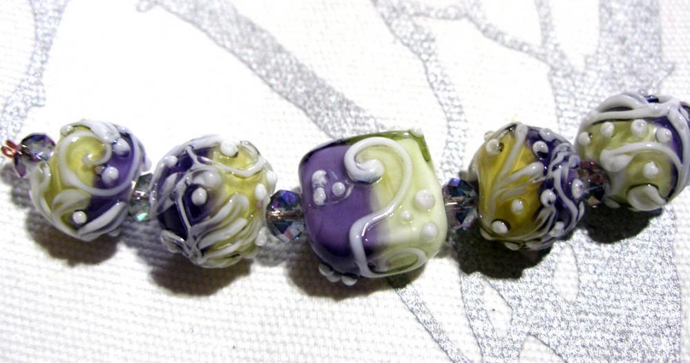 Favorite Like this item? Add it to your favorites to revisit it later. TRELLIS SWIRLS, Lavender Mint - HandMade LampWork Glass Beads By Kathleen Robinson-Young (set of 5beads)