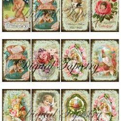 """Digital Collage Sheet - Clip Art Elements- Digital Scrapbooking-"""" Art Nouveau Vintage Perfumes"""""""