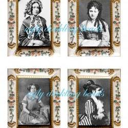 """Digital Collage Sheet - Clip Art Elements- Digital Scrapbooking-"""" The Way We Were 1"""" Victorian Frame and Images"""