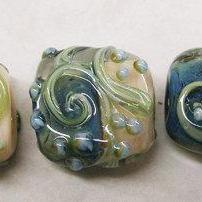 Lampwork Beads -TRELLIS SWIRLS,Salmon and Dusty Blue - HandMade LampWork Glass Beads By Kathleen Robinson-Young (set of 5beads)