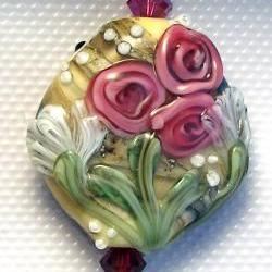 "Lampwork Bead - Pendant Focal- ""Organic or Floral"" 2 in 1 Bead SRA"
