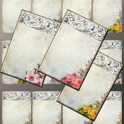 "Digital Collage Sheet - Clip Art Elements- Digital Scrapbooking-"" Ornamentaea Taupe"" Earring Cards"