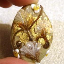 "Lampwork Bead - Pendant Focal- ""Copper Canyon"" Floral Bead SRA"